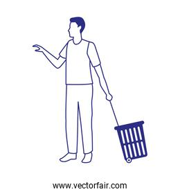 avatar man with Rolling Shopping Basket