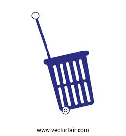 shopping rolling purple basket icon, colorful design
