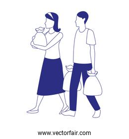 avatar man and woman with supermarket bags, flat design