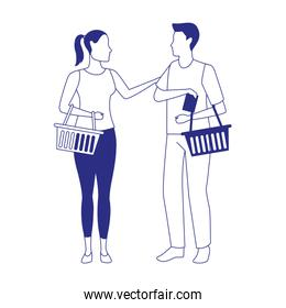 avatar man and woman with supermarket baskets