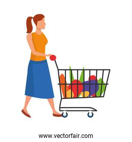 avatar woman with supermarket cart with groceries, flat design
