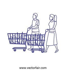 avatar man and woman with supermarket carts, line design
