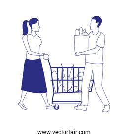 man holding a bag and woman with supermarket cart, flat style