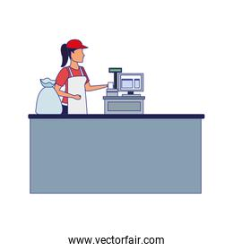 woman cashier in the cash icon, flat design
