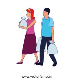 avatar man and woman with supermarket bags, colorful design