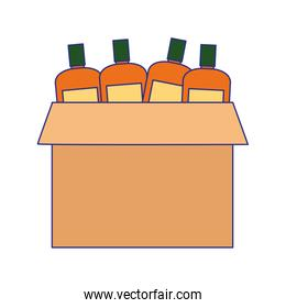 box with bottles icon, flat design