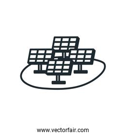 Isolated solar panels line style icon vector design