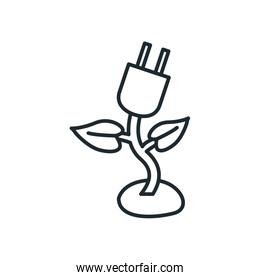 Isolated plug with leaves line style icon vector design