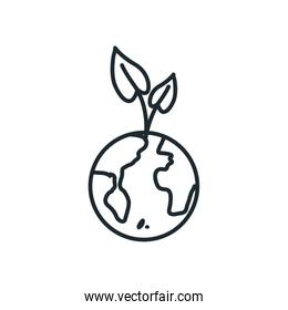 Isolated leaves over world line style icon vector design