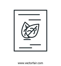 Isolated leaves inside document line style icon vector design