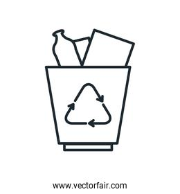 Isolated trash with recycle line style icon vector design
