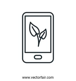 Isolated leaves inside smartphone line style icon vector design