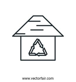 house with recycle symbol inside house line style icon vector design