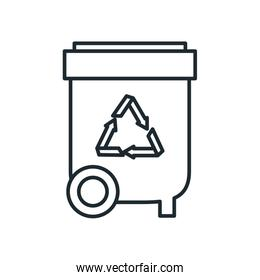 trash with recycle symbol line style icon vector design