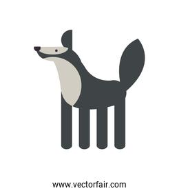 Cute wolf cartoon fill style icon vector design