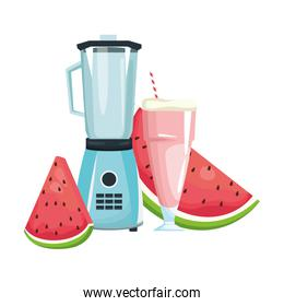 watermelon juice and slices and blender, colorful design
