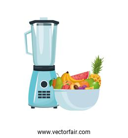 blender and bowl with fruits, colorful design