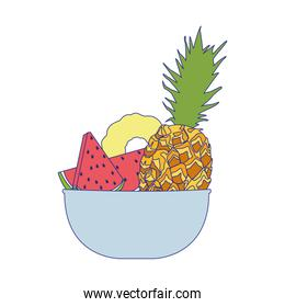 bowl with pineapple and healthy fruits