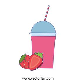 strawberry smoothie cup icon, colorful design