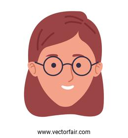 cartoon woman with glasses icon, flat design
