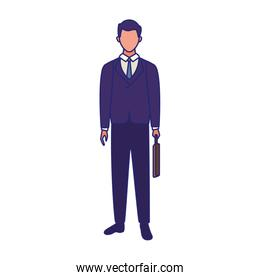 businessman holding a briefcase standing character