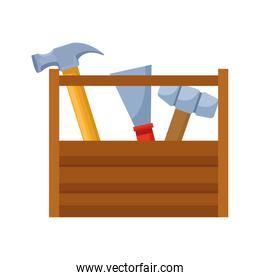 wooden box with tools icon, flat design