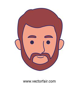 cartoon man with beard icon, colorful design
