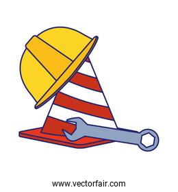 traffic cone with safety helmet and wrench tool