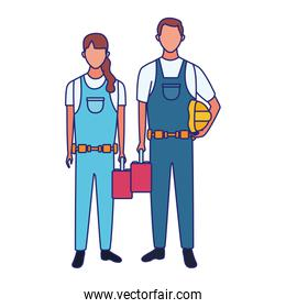 cartoon faceless woman and man with tool boxes