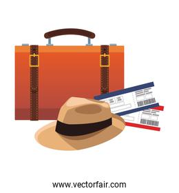travel suitcase with hat and flight passboards, flat design