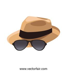 hat and sunglasses icon, flat design