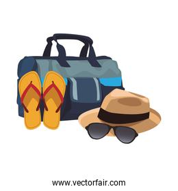 beach hat with sandals and hat icon, flat design