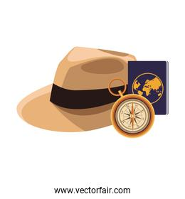 beach hat and compass icon