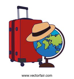 globe with hat and travel luggage icon