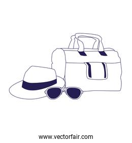 travel handbag with hat and sunglasses icon