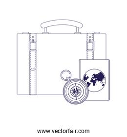 travel suitcase with passport and compass, flat design