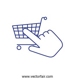 cart shopping with hand cursor