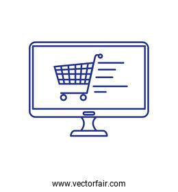 computer monitor with cart shopping
