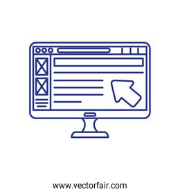 computer desktop with web page
