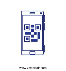 smartphone with code qr scan