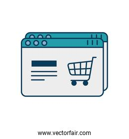 web page template with cart shopping isolated icon