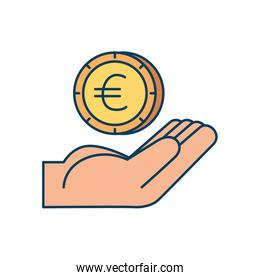 hand with coin money euro isolated icon