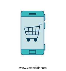 smartphone device with cart shopping isolated icon