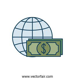 bills dollar with sphere isolated icon