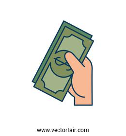 hand with bills dollar isolated icon