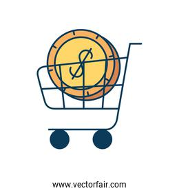 cart shopping with coin dollar isolated icon