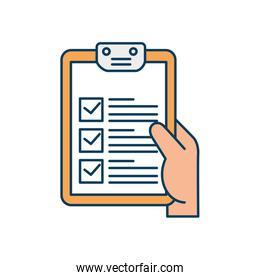 hand and clipboard with paper document isolated icon