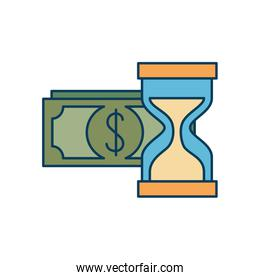 bills dollar with hourglass isolated icon