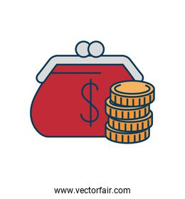 pile of coins with purse isolated icons