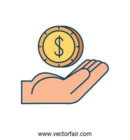 hand with coin money dollar isolated icon